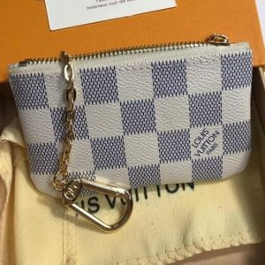 LV White Key Card Wallet